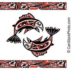 native salmon Vector fish in red on white background with...