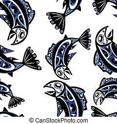 native salmon Vector seamless pattern - native salmon Vector...