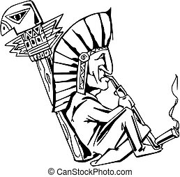 Native shaman smoking tobacco-pipe. Black and white vector...