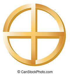 Golden Medicine Wheel symbol of Native Spirituality on a white background.