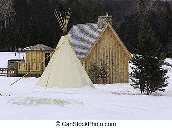 Native tee pee and huts