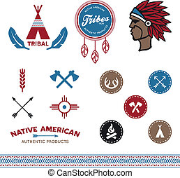 Set of native American tribal inspired designs and icons