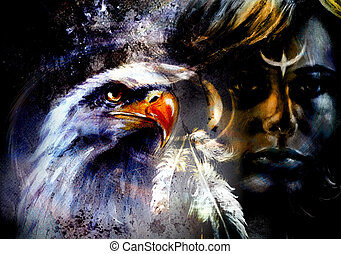 native  woman, on abstract color background with wild animals.  eagles.