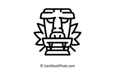 Native wood idol icon animation outline best object on white background