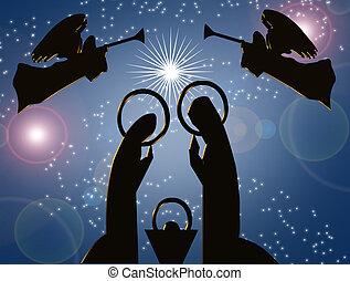 natividad, azul, resumen, navidad