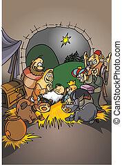 natividad, cristiano, escena