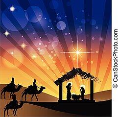 natividad, escena familia, santo