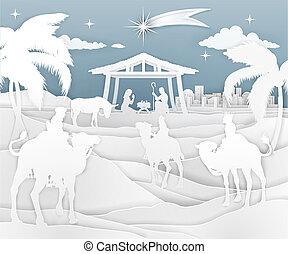 natividad, escena navidad, papel, estilo