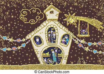 natividad, escena navidad, tarjeta, saludo