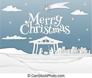 natividad, feliz navidad, papel, escena
