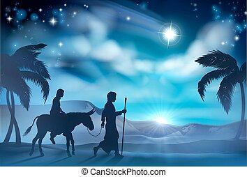 natividad, maría, y, joseph, navidad, ilustración