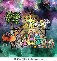 natividad, navidad, acuarela, escena
