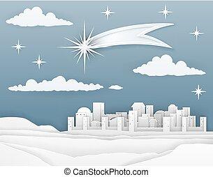 natividad, navidad, belén, papel, escena