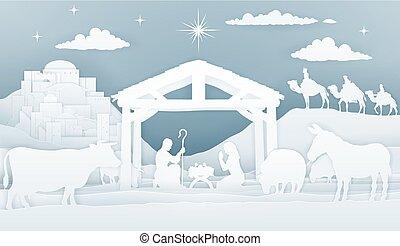 natividad, navidad, cristiano, escena