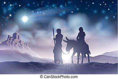 natividad, navidad, ilustración, maría, y, joseph
