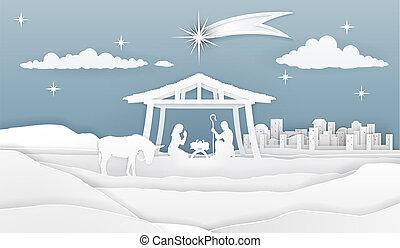 natividad, papel de navidad, escena