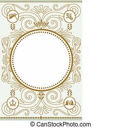 natividad, patrón, marco, vector