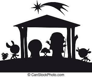 natividad, silueta, navidad, ilustración
