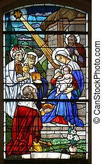 natividad, vidrio, escena, manchado
