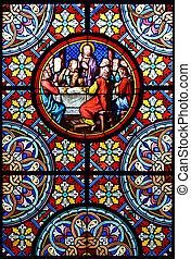 natividad, vidrio, manchado, scene., basel, ventana, suiza,...