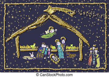 natividade, alegre, card., saudação, cena