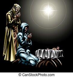 natividade, cristão, cena natal