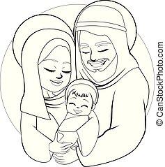 natividade, linha arte, família