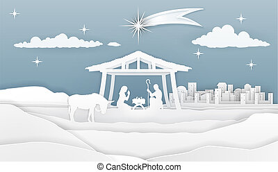 natividade, papel, cena natal