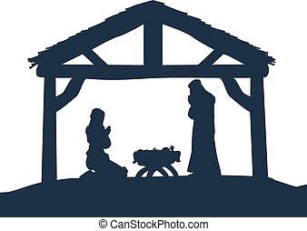 natividade, silhuetas, cristão, cena natal