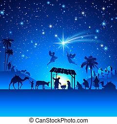 natividade, vetorial, cena natal