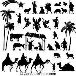 natività, set, silhouette