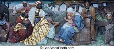 nativité, adoration, scène, magi