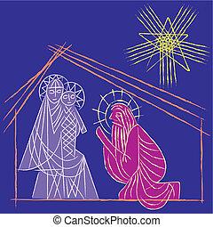 nativité, bethlehem., étoile, vector., illustration