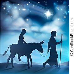 nativité, joseph, marie, illustration, noël