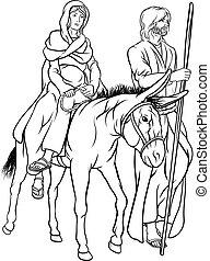 nativité, joseph, noël, illustration, marie