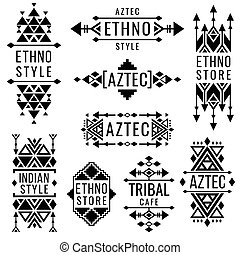nativité, mexicain, indien, tribal, traditionnel, vieux, vecteur, logo, ornements