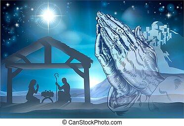 nativité, prier, scène, mains