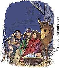 nativité, saint, scène, famille