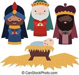 nativité, trois, vecteur, illustration, hommes, sage, attachez art