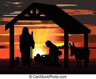 nativité, vecteur, coucher soleil, noël, illustration