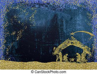 nativity, カード, クリスマス場面