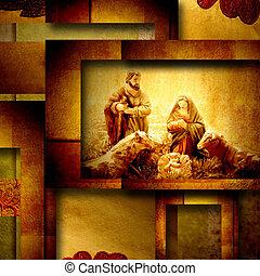 nativity, クリスマス場面, カード, 挨拶
