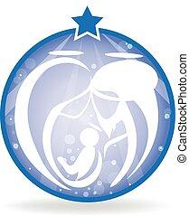 nativity, クリスマス, 家族, 神聖