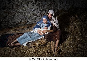 nativity, クリスマス, 納屋