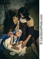 nativity, クリスマス, 親, 疲れた, 現場