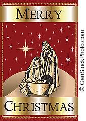 nativity, クリスマス, 陽気, 赤