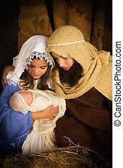 nativity, ヨセフ, mary, 現場