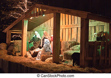 nativity, 中世, 現場, reenacted, 生きている, クリスマス, 納屋