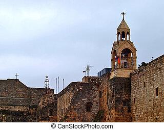nativity, 位置を定められた, バシリカ, bethlehem, 教会
