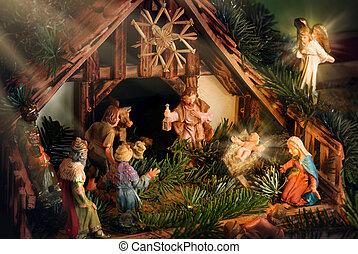 nativity, 光線, 現場, 強められた